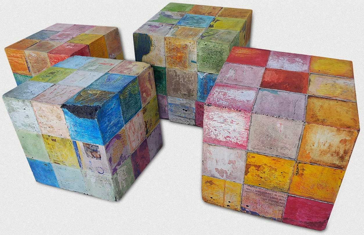 Four of Eric's latest 7 x 7 x 7 inch concrete cubes.