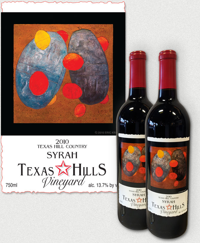 Wine Label for Texas Hills Syrah featuring Eric's Red Orb Study Wall Sculpture